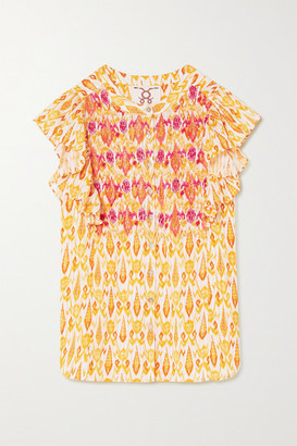 Figue Janae Ruffled Bead-embellished Embroidered Printed Cotton-blend Blouse - Yellow