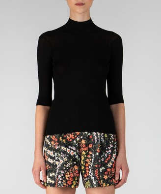 Atm Silk Cotton Ribbed Mock Neck Sweater - Black