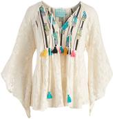 Judith March Cream & Black Stripe Cactus Crochet Tassel Peasant Top