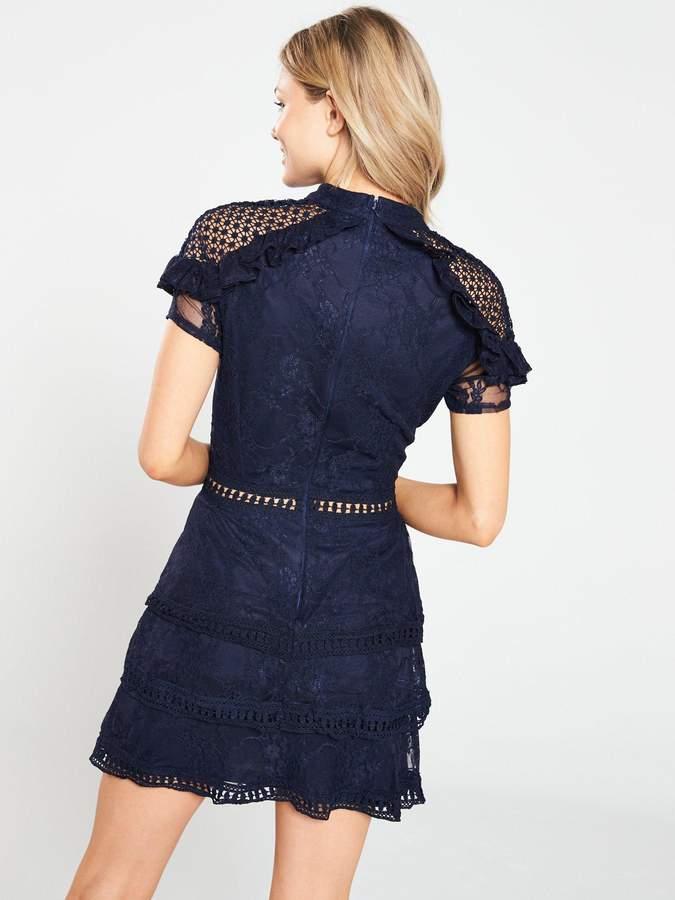 AX Paris Petite Crochet Lace Tier Dress - Navy