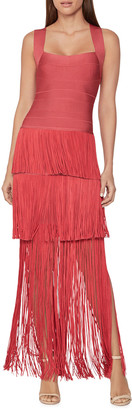 Herve Leger Tiered Fringed Square-Neck Gown