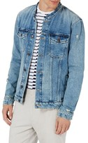 Topman Men's Collarless Denim Jacket