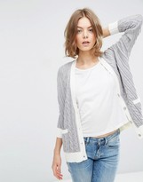 Asos Cable Cardigan with Contrast Trim