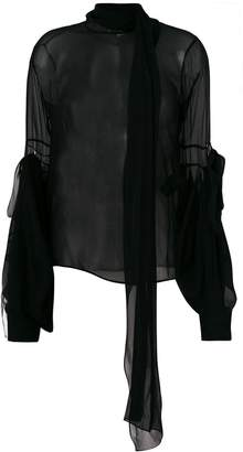 Saint Laurent sheer bell-sleeve blouse