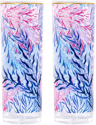 Lilly Pulitzer Kaleidoscope Coral Acrylic Highball Glasses, Set of 2