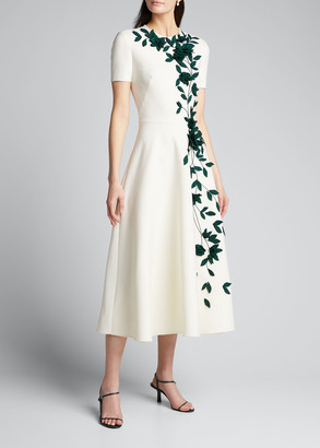 Oscar de la Renta Floral Embroidered Dress