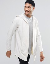 Pull&Bear Hooded Jersey Cardigan In Ecru Marl
