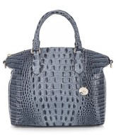 Brahmin 'Medium Duxbury' Croc Embossed Leather Satchel - Blue