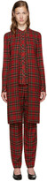 Rosetta Getty Red Tartan Split Front Shirt