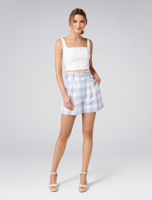 Forever New Laila High-Waist Gingham Shorts - Blue Check - 4