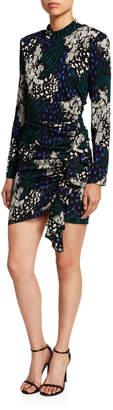 Veronica Beard Louella Long-Sleeve Silk Dress