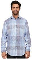 Thomas Dean Men's 1 Button Spread Collar Plain Weave Check