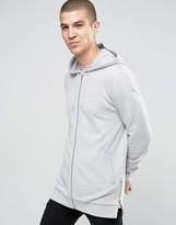 Asos Longline Hoodie With Side Zips In Grey Marl