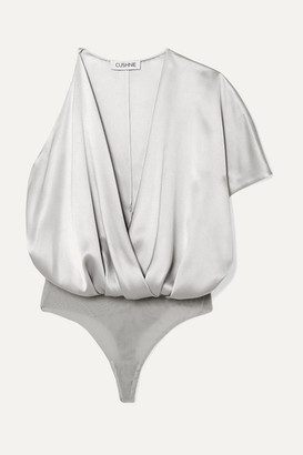 Cushnie Asymmetric Silk-satin And Stretch-mesh Bodysuit - Silver