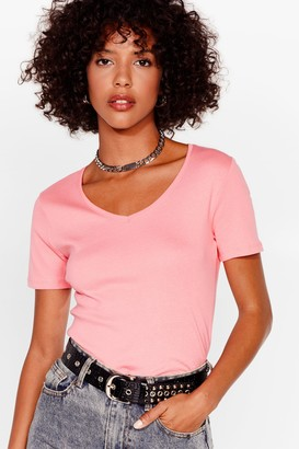 Nasty Gal Womens It's Just That Simple V-Neck Tee - Coral