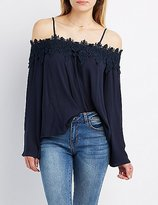Charlotte Russe Crochet-Trim Cold Shoulder Top