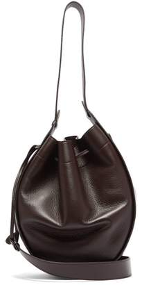 The Row Xl Drawstring Grained-leather Bag - Womens - Burgundy