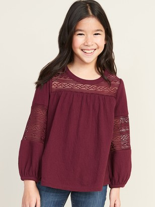 Old Navy Textured-Jersey Lace-Trim Top for Girls