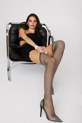 Nasty Gal Womens Break the Ice Over-the-Knee Diamante Boots - Black - 5, Black
