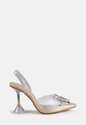 Missguided Clear Diamante Feature Slingback Heels