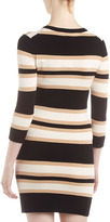 French Connection Striped 3/4-Sleeve Dress, Black/Camel/Cream