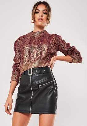 Missguided Rose Gold Cable Knit Foil Cropped Jumper