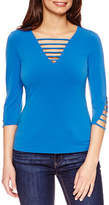 Bisou Bisou Caged V-Neck Top