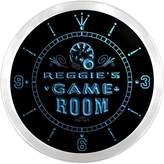AdvPro Clock ncPL0627-b REGGIE'S Game Room Den Beer Bar LED Neon Sign Wall Clock