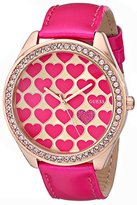 GUESS Women's U0535L1 Pink Heart Watch with Rose Gold-Tone Case & Genuine Patent Leather Strap