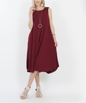 Lydiane Women's Casual Dresses DK.BURGUNDY - Dark Burgundy Crewneck Sleeveless Curved-Hem Pocket Midi Dress - Women & Plus