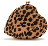 Saint Laurent Love Box leopard-print calf-hair clutch