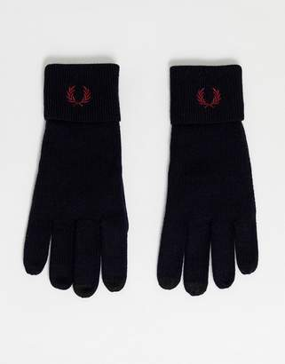 Fred Perry 100% merino wool touch screen gloves in navy