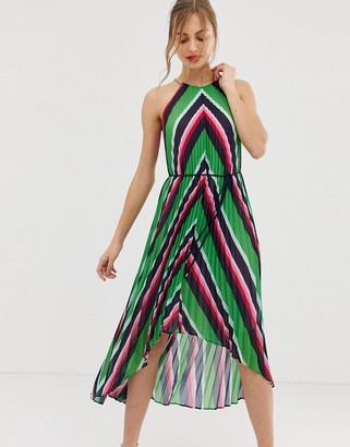 Ted Baker Shannah pleated maxi dress in stripe-Multi
