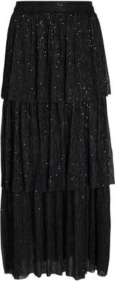 Sabina Musayev Crystal Tiered Plisse Midi Skirt