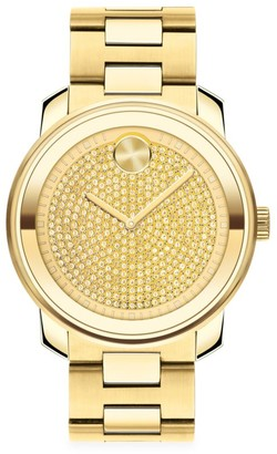Movado BOLD Yellow Goldtone IP Stainless Steel Bracelet Watch