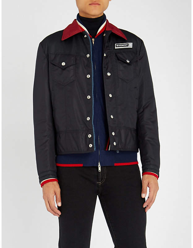 Givenchy Contrast-collar shell jacket
