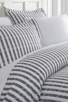 IENJOY HOME Home Spun Premium Ultra Soft 3-Piece Puffed Rugged Stripes Duvet Cover King Set - Gray