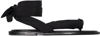 Ganni Thong-Strap Tie-Strap Sandals