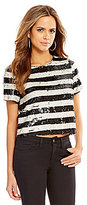Gianni Bini Jesse Short Sleeve Stripe Sequin Tee