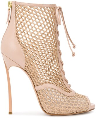 Casadei Mesh Open Toe Boots