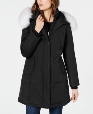 1 Madison Fox-Fur-Trim Hooded Down Parka Coat