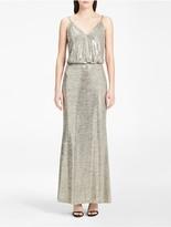 Calvin Klein Metallic V-Neck Blouson Gown