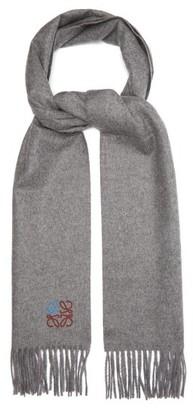 Loewe Anagram-embroidered Wool-blend Scarf - Grey