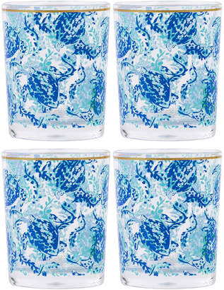 Lilly Pulitzer Turtley Awesome Acrylic Lowball Glasses, Set of 4