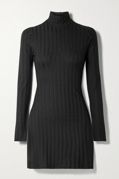 Reformation Libra Ribbed Stretch-tencel Lyocell Turtleneck Mini Dress - Black