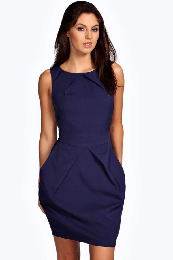 boohoo Persie Pleat Detail Dress ink