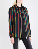 Palm Angels Ladies Striped Exposed zip Coach Wool And Cotton Shirt