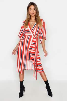 boohoo Asymetric Hem Striped Midi Dress