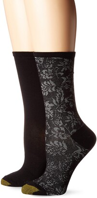 Gold Toe Women's Little Black Tapestry Crew Socks with Lurex 2 Pairs Shoe Size: 6-9