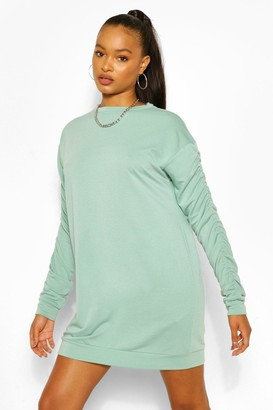 boohoo Ruched Sleeve Cut Out Back jumper Dress